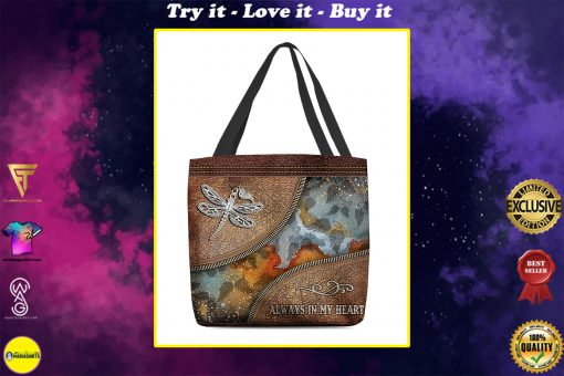 dragonfly always in my heart vintage leather pattern all over printed tote bag