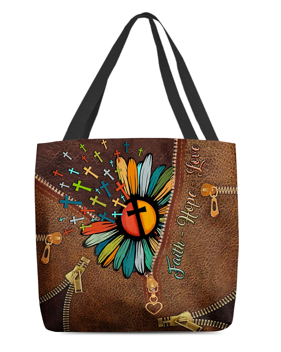 faith hope love Jesus cross flower leather pattern all over printed tote bag 2
