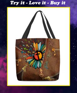 faith hope love Jesus cross flower leather pattern all over printed tote bag