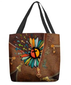 faith hope love Jesus cross flower leather pattern all over printed tote bag 4
