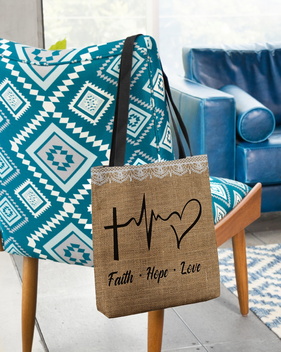 faith hope love heartbeat Jesus leather pattern all over printed tote bag 2