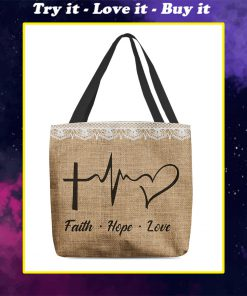 faith hope love heartbeat Jesus leather pattern all over printed tote bag