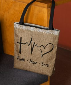 faith hope love heartbeat Jesus leather pattern all over printed tote bag 3