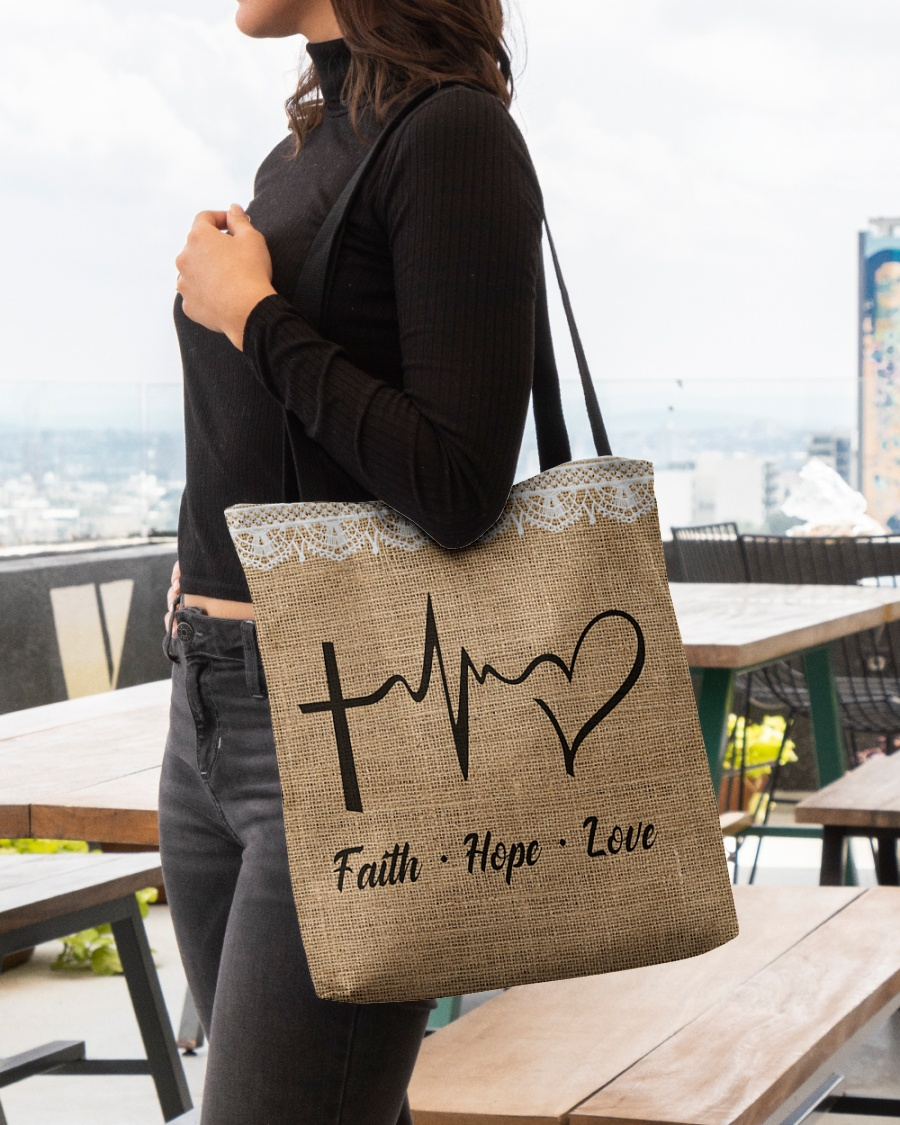 faith hope love heartbeat Jesus leather pattern all over printed tote bag 4