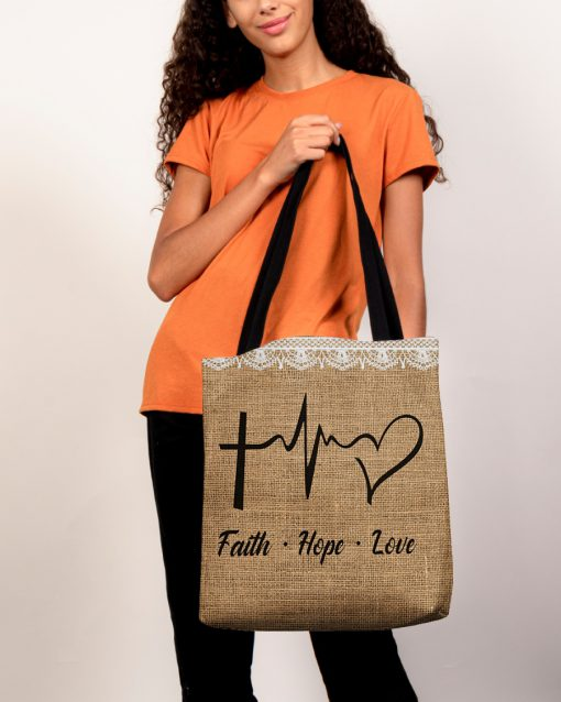 faith hope love heartbeat Jesus leather pattern all over printed tote bag 5