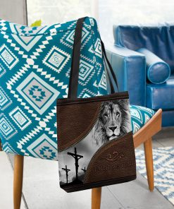 faith over fear lion Jesus leather pattern all over printed tote bag 2