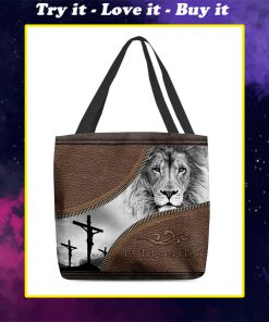 faith over fear lion Jesus leather pattern all over printed tote bag