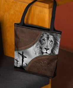 faith over fear lion Jesus leather pattern all over printed tote bag 3