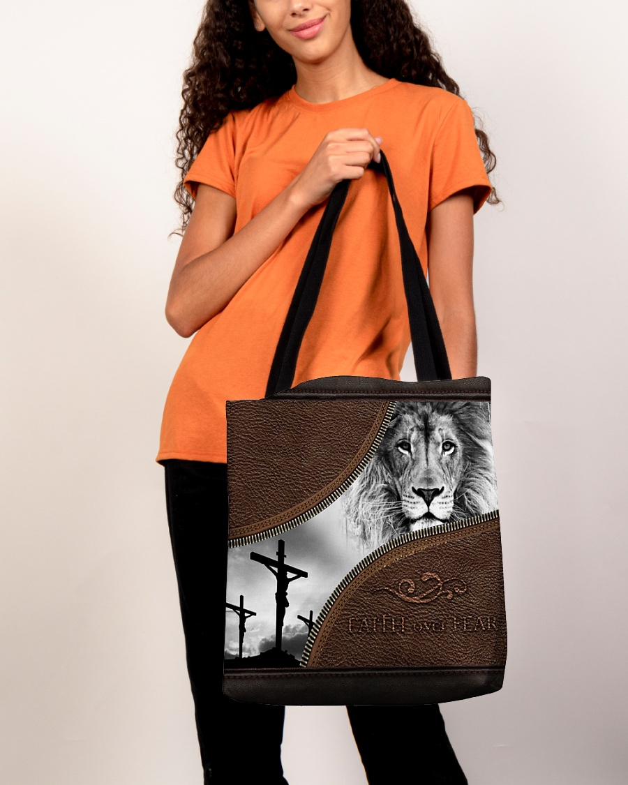 faith over fear lion Jesus leather pattern all over printed tote bag 5