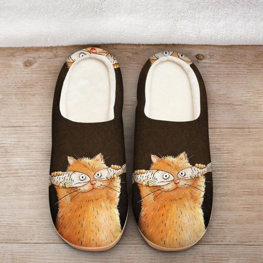 fat cat with fish all over printed slippers 2