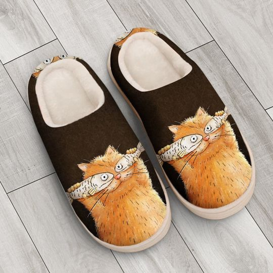 fat cat with fish all over printed slippers 4