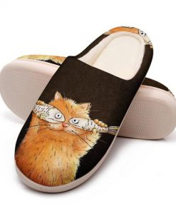 fat cat with fish all over printed slippers 5