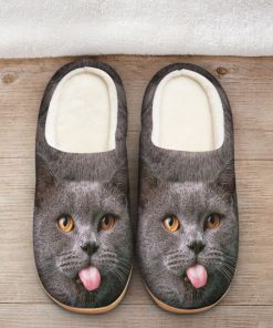 funny cat face all over printed slippers 2