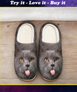 funny cat face all over printed slippers