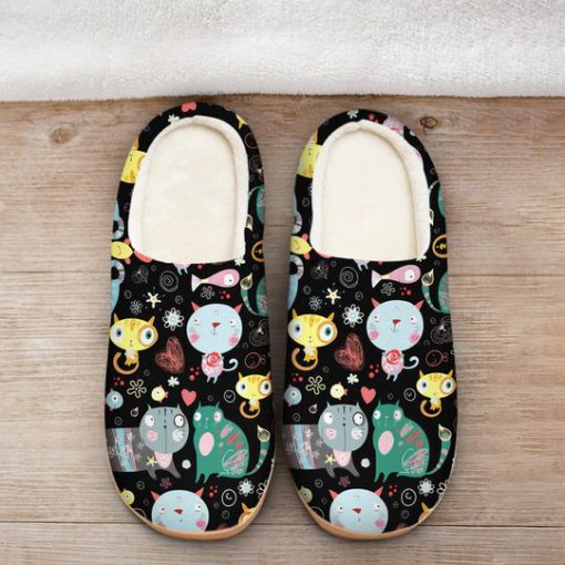 funny fat cat all over printed slippers 2