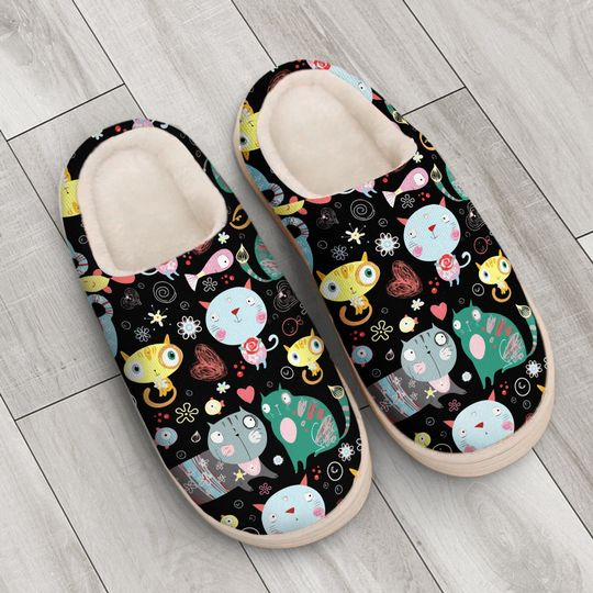 funny fat cat all over printed slippers 4