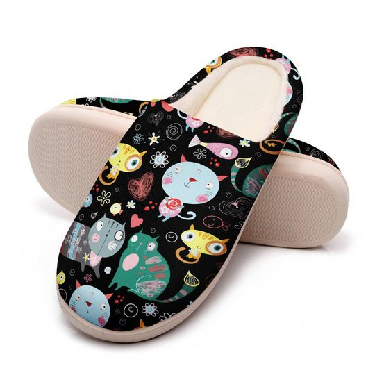 funny fat cat all over printed slippers 5