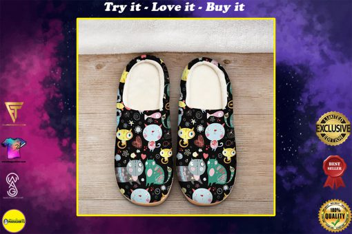 funny fat cat all over printed slippers