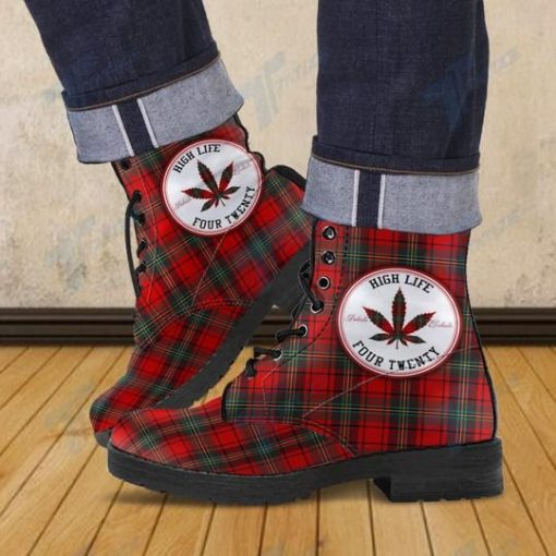high life four twenty weed leaf all over printed winter boots 2