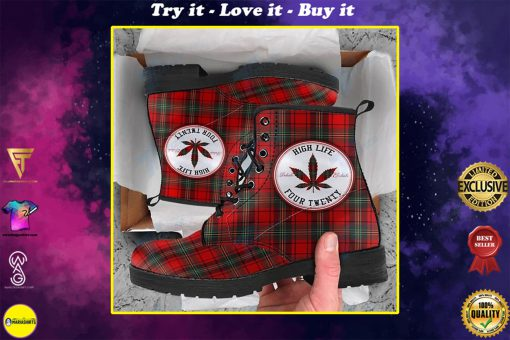 high life four twenty weed leaf all over printed winter boots