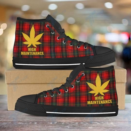 high maintenance weed leaf golden all over printed high top canvas shoes 3