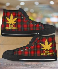 high maintenance weed leaf golden all over printed high top canvas shoes 5