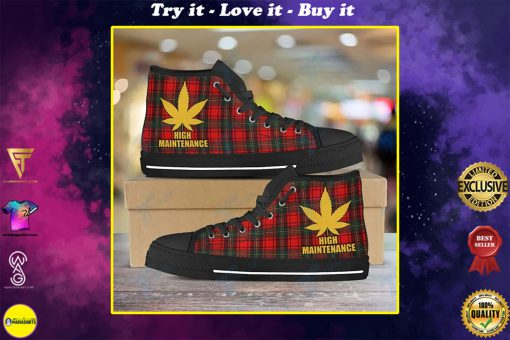 high maintenance weed leaf golden all over printed high top canvas shoes