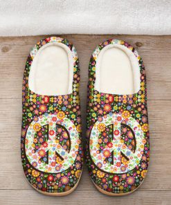 hippie peace symbol flower all over printed slippers 2
