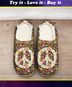 hippie peace symbol flower all over printed slippers