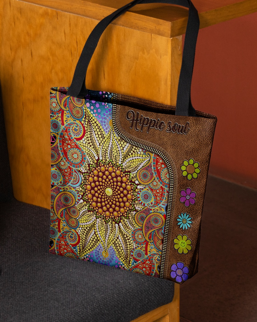 hippie soul flower vintage leather pattern all over print tote bag 2