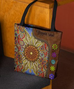 hippie soul flower vintage leather pattern all over print tote bag 3