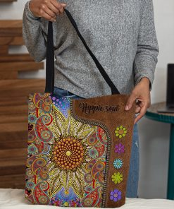 hippie soul flower vintage leather pattern all over print tote bag 4
