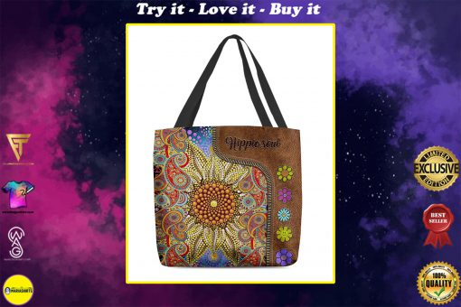 hippie soul flower vintage leather pattern all over print tote bag