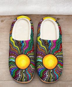 hippie sun colorful all over printed slippers 2