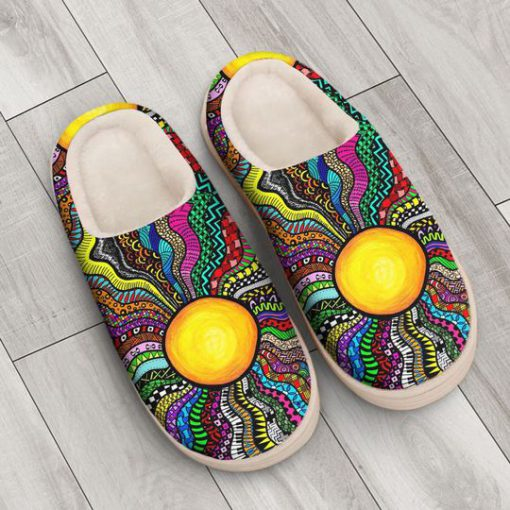 hippie sun colorful all over printed slippers 3