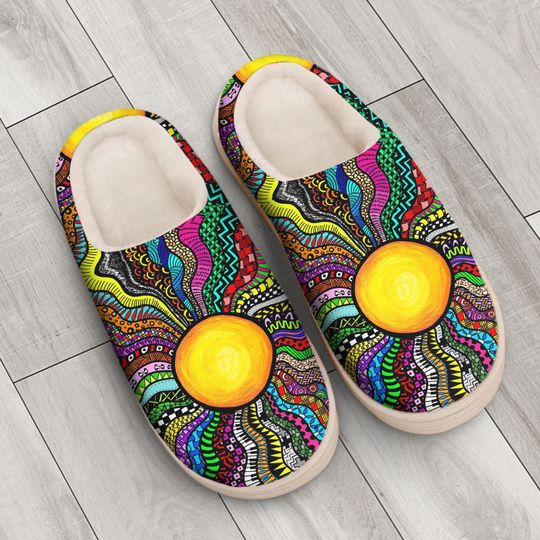 hippie sun colorful all over printed slippers 4