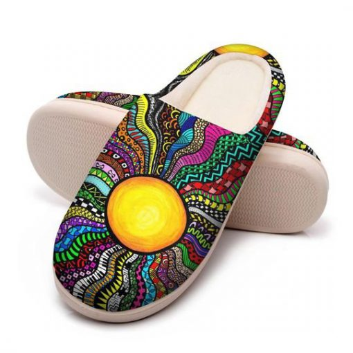 hippie sun colorful all over printed slippers 5