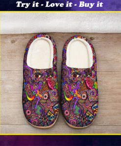 hippie symbol colorful all over printed slippers