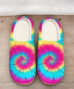 hippie tie dye colorful all over printed slippers 2