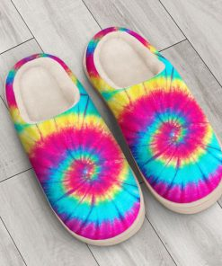 hippie tie dye colorful all over printed slippers 3