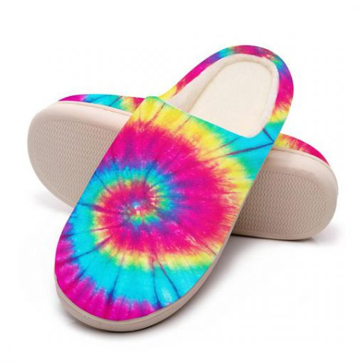 hippie tie dye colorful all over printed slippers 5