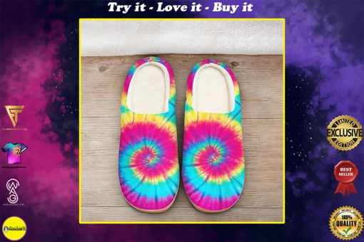 hippie tie dye colorful all over printed slippers