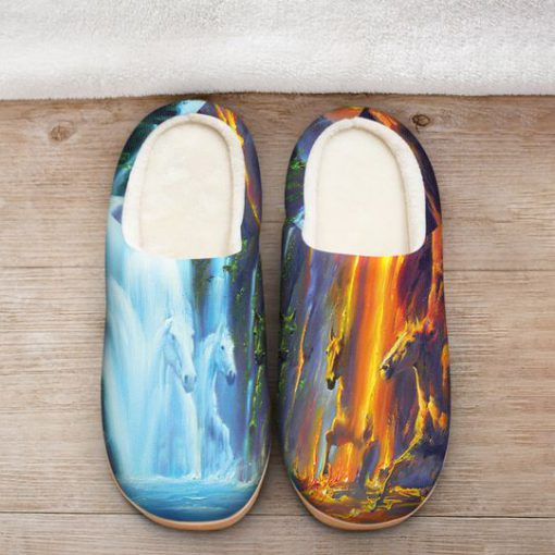 horse ice and fire colorful all over printed slippers 2