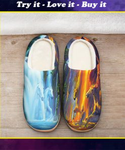 horse ice and fire colorful all over printed slippers