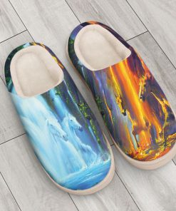 horse ice and fire colorful all over printed slippers 3