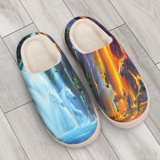 horse ice and fire colorful all over printed slippers 4