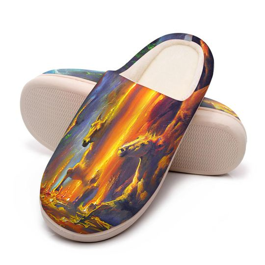 horse ice and fire colorful all over printed slippers 5