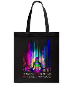 im mostly peace love and light yoga all over printed tote bag 3