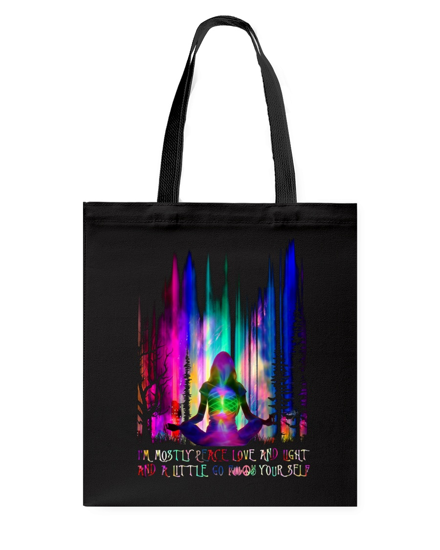 im mostly peace love and light yoga all over printed tote bag 5