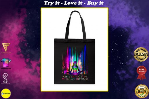 im mostly peace love and light yoga all over printed tote bag